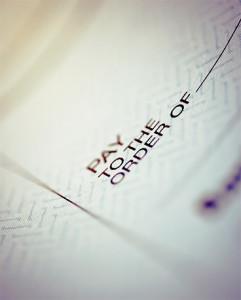closeup of a check